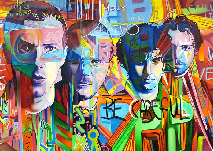 Coldplay Greeting Card featuring the painting Coldplay by Joshua Morton