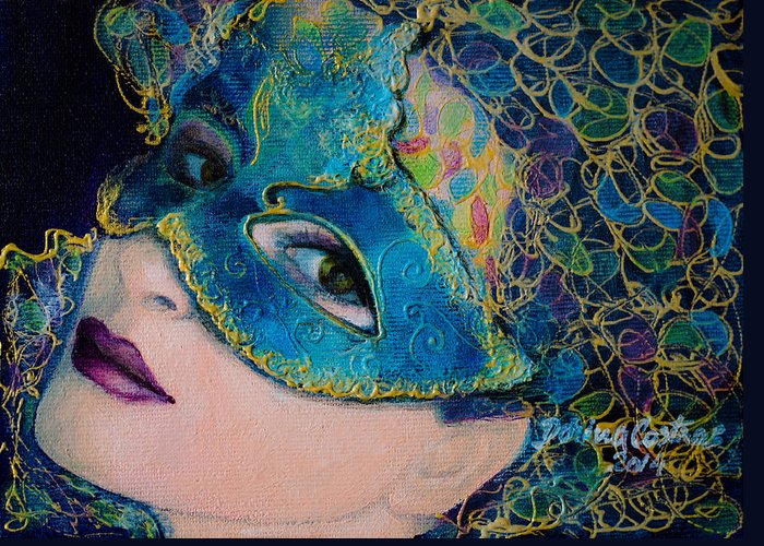 Art Greeting Card featuring the painting Colombina's Sight by Dorina Costras