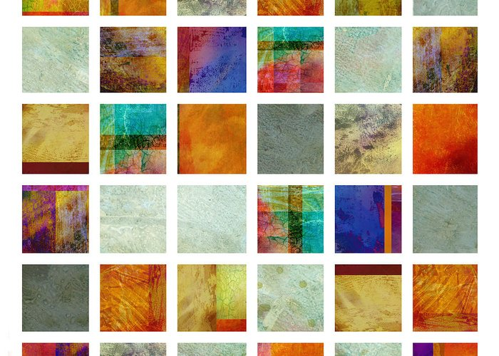 Abstract Greeting Card featuring the painting Color Block Collage Abstract Art by Ann Powell