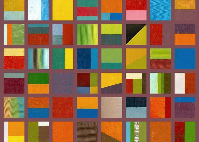 Abstract Greeting Card featuring the painting Color Study Collage 65 by Michelle Calkins