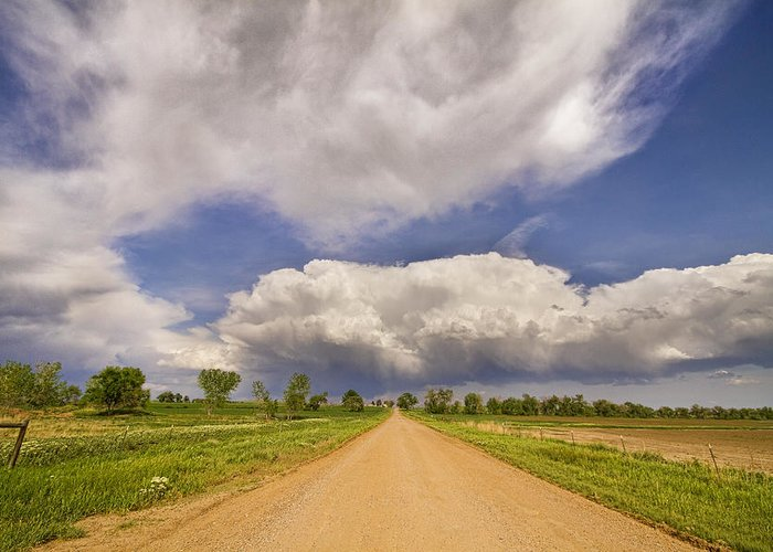 Road Greeting Card featuring the photograph Colorado Country Road Stormin Skies by James BO Insogna