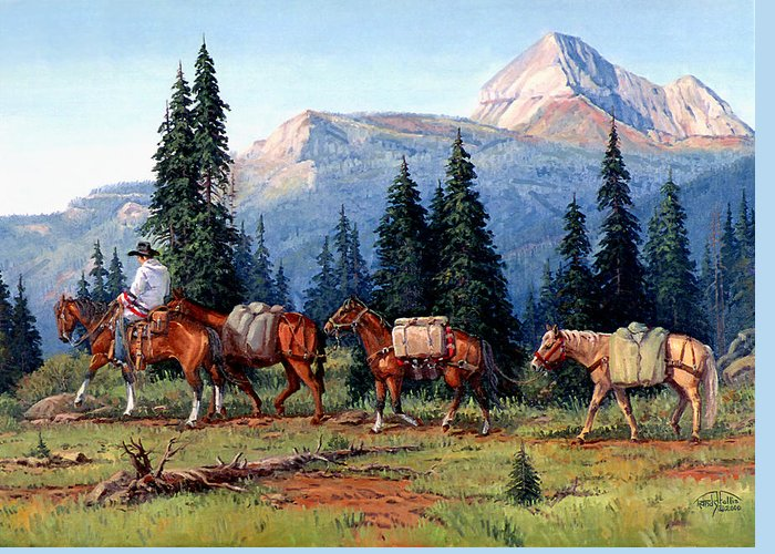 Cowboy Greeting Card featuring the painting Colorado Outfitter by Randy Follis