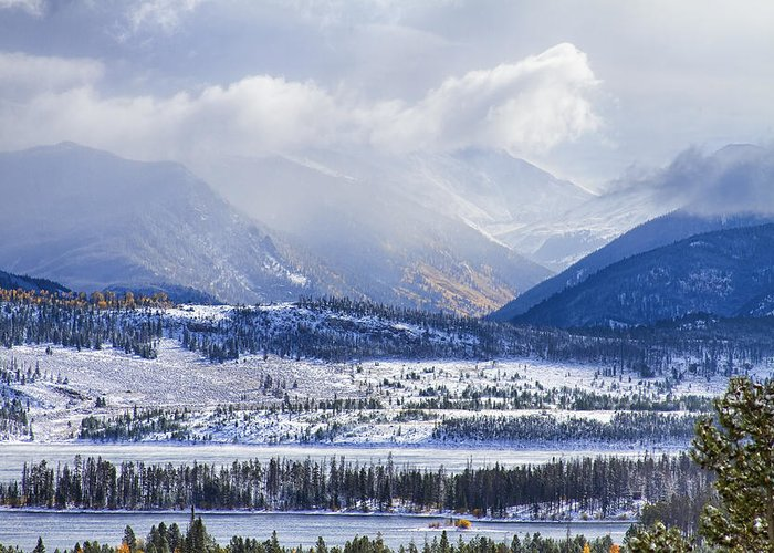 Snow Greeting Card featuring the photograph Colorado Rocky Mountain Autumn Storm by James BO Insogna