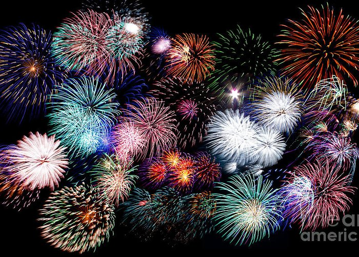 4th Greeting Card featuring the photograph Colorful Fireworks Of Various Colors In Night Sky by Stephan Pietzko
