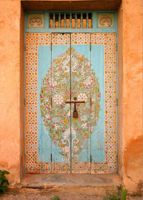Door Greeting Card featuring the photograph Colourful Moroccan Entrance Door Sale Rabat Morocco by Ralph A Ledergerber-Photography