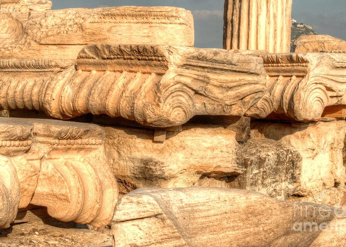 Greece Greeting Card featuring the photograph Columns Of The Parthenon by Deborah Smolinske