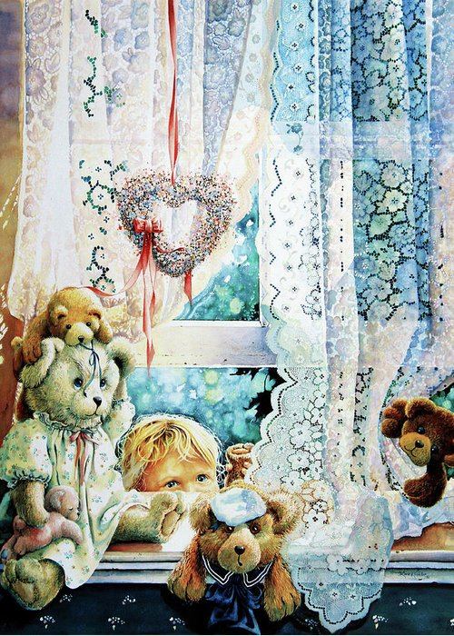 Teddy Bear Greeting Card featuring the painting Come Out And Play Teddy by Hanne Lore Koehler