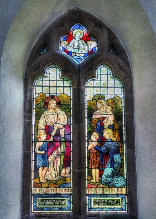 Stained Glass Window Greeting Card featuring the photograph Come Unto Me by Ian Mitchell