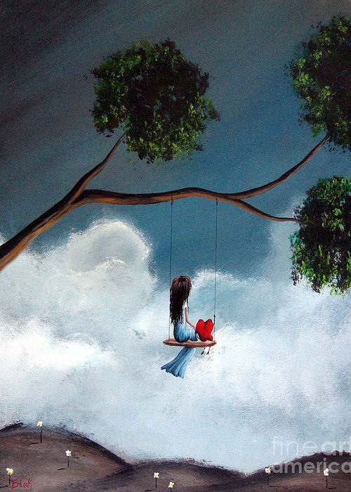 Child Greeting Card featuring the painting Comfortable Silence By Shawna Erback by Shawna Erback