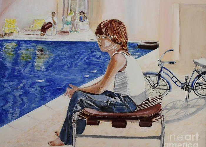 Boy Greeting Card featuring the painting Community Pool by Debra Chmelina