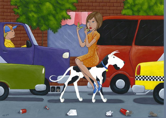 Dog Greeting Card featuring the painting Commuting by Christy Beckwith