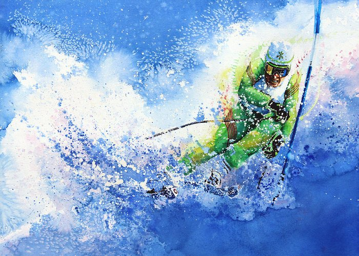 Olympic Sports Greeting Card featuring the painting Competitive Edge by Hanne Lore Koehler