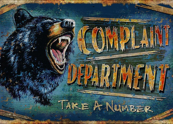 Robert Schmidt Greeting Card featuring the painting Complaint Department by JQ Licensing