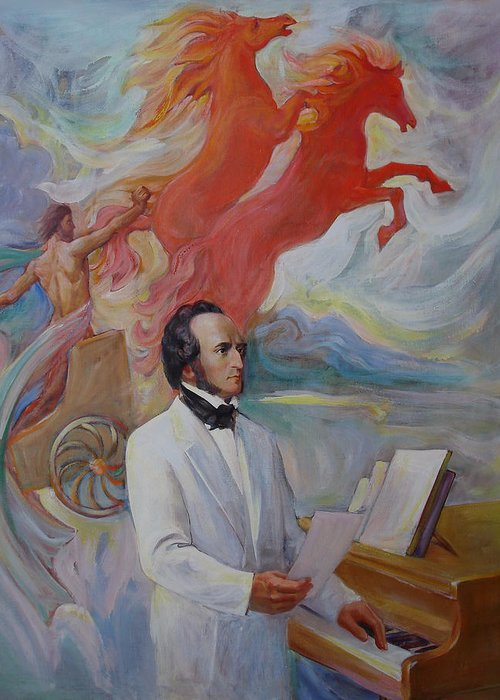 Mendelssohn Greeting Card featuring the painting Composer Felix Mendelssohn by Svitozar Nenyuk