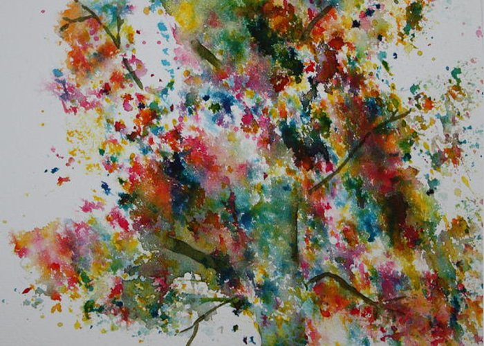 Landscape Greeting Card featuring the painting Confetti Tree by Patsy Sharpe