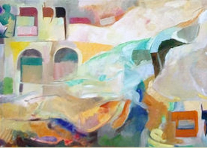 Torah Greeting Card featuring the painting Consoling Yaakov Avinu by David Baruch Wolk