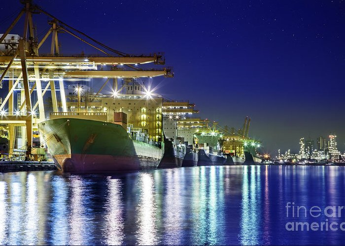 Bangkok Greeting Card featuring the photograph Container Cargo Freight Ship by Anek Suwannaphoom