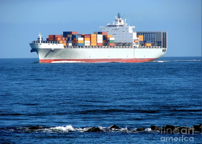 Ship Greeting Card featuring the photograph Container Ship by Olivier Le Queinec