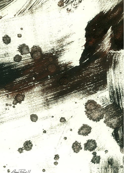 Abstract Greeting Card featuring the painting Contemplation In Black And White Abstract Art by Ann Powell