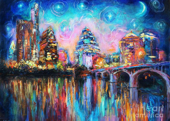 Downtown Austin Art Greeting Card featuring the painting Contemporary Downtown Austin Art Painting Night Skyline Cityscape Painting Texas by Svetlana Novikova