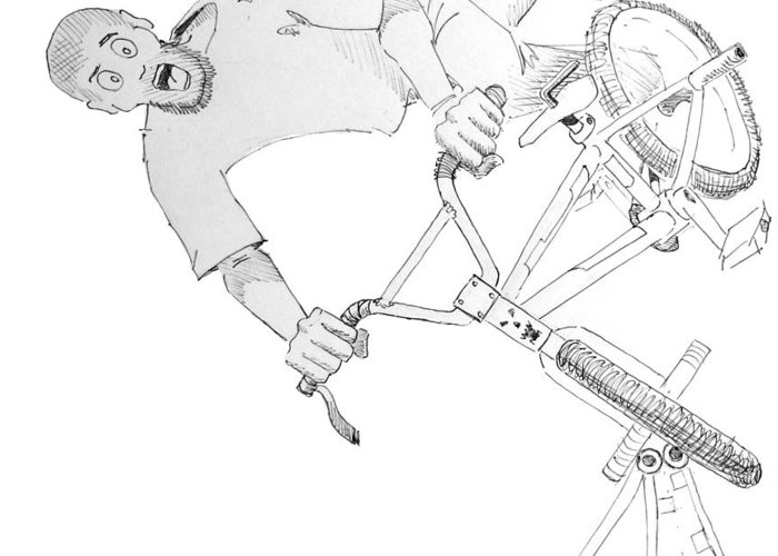 Bmx Greeting Card featuring the drawing Cool Bmx Drawing by Mike Jory