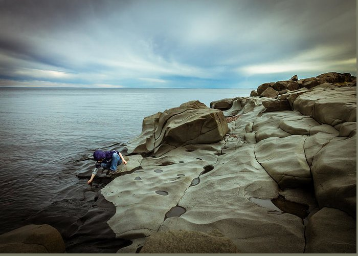 magic To The Touch lake Superior brighton Beach Duluth Nature greeting Cards northern Minnesota north Shore child human Element landscape Clouds Beach Magic Nature Greeting Card featuring the photograph Cool To The Touch by Mary Amerman