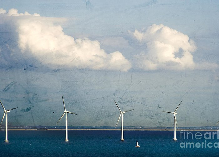 Sea Greeting Card featuring the photograph Copenhagen Wind Turbines by Joan McCool
