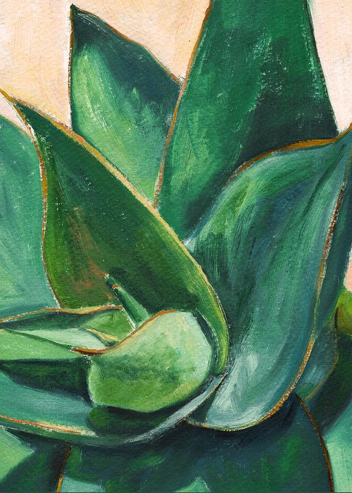 Aloe Greeting Card featuring the painting Coral Aloe 3 by Athena Mantle