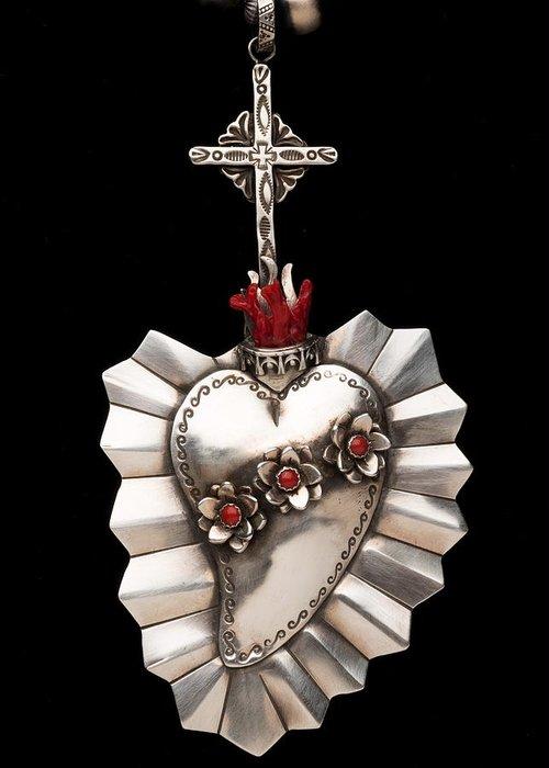 Santa Fe Greeting Card featuring the jewelry Corazon De Amor Y Fe by Gregory Segura