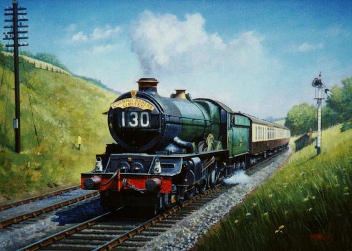 steam Traincommission A Painting Greeting Card featuring the painting Cornish Riviera To Paddington. by Mike Jeffries