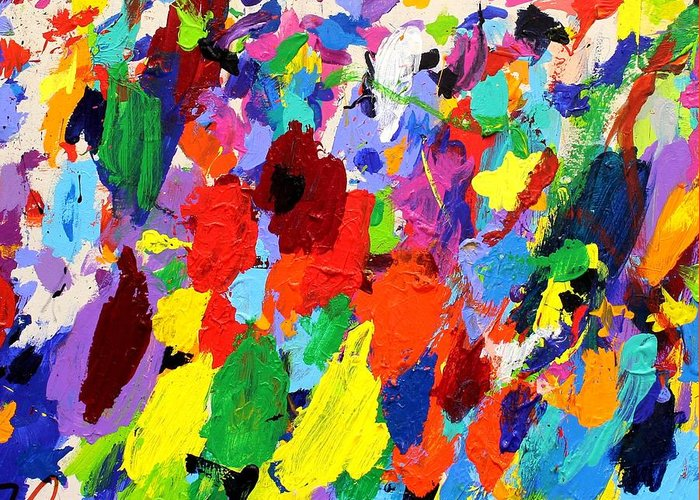 Abstract Greeting Card featuring the painting Cornucopia Of Colour I by John Nolan