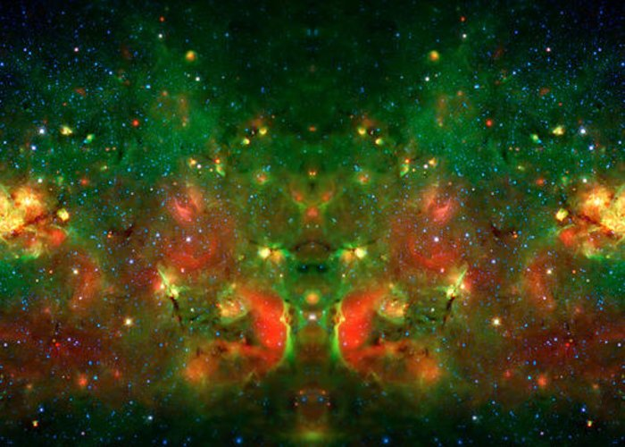 Universe Greeting Card featuring the photograph Cosmic Reflection 1 by The Vault - Jennifer Rondinelli Reilly