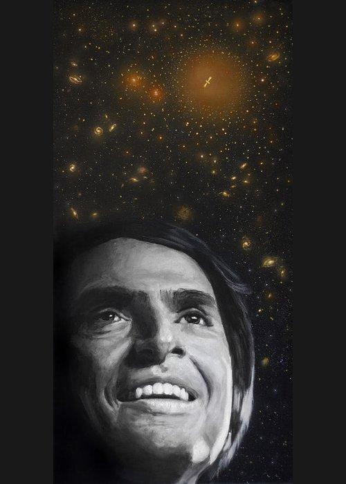 Carl Sagan Greeting Card featuring the painting Cosmos- Carl Sagan by Simon Kregar