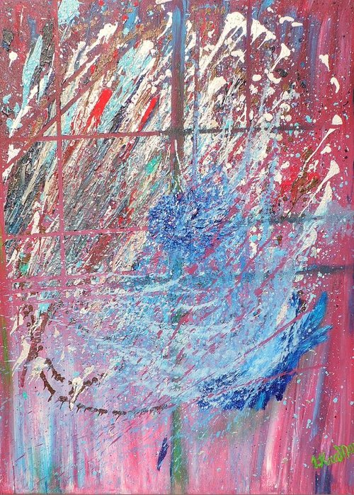 Abstract Greeting Card featuring the painting Cosmos by Lisa Kramer