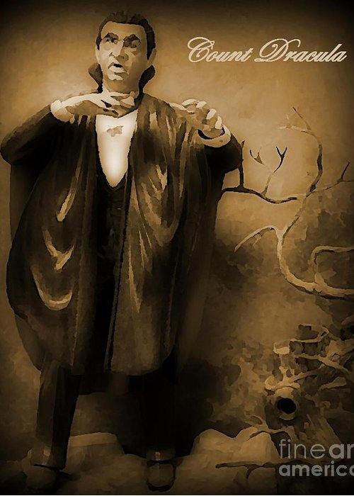 Nightmares Greeting Card featuring the painting Count Dracula In Sepia by John Malone