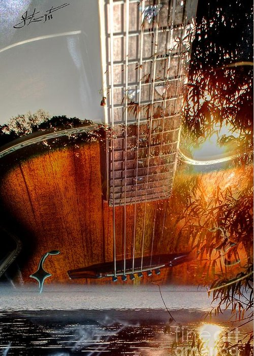 Acoustic Greeting Card featuring the photograph Country Music Digital Guitar Art By Steven Langston by Steven Lebron Langston