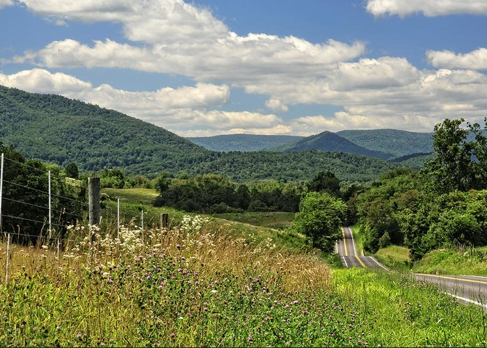 Country Greeting Card featuring the photograph Country Roads Take Me Home by Lara Ellis