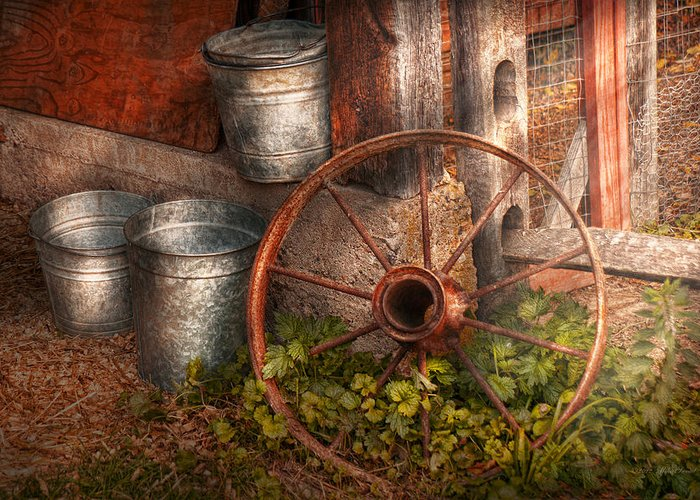Country Greeting Card featuring the photograph Country - Some Dented Pails And An Old Wheel by Mike Savad