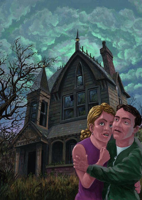 Ghost Greeting Card featuring the painting Couple Outside Haunted House by Martin Davey
