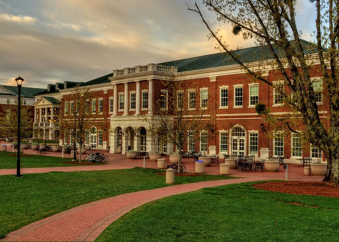 Western Carolina University Greeting Card featuring the photograph Courtyard Dining Hall - Wcu by Greg and Chrystal Mimbs