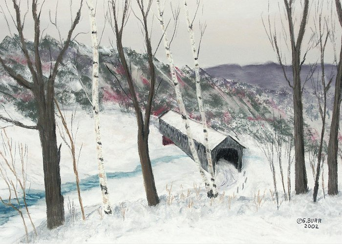 Nature Greeting Card featuring the pastel Covered Bridge by George Burr