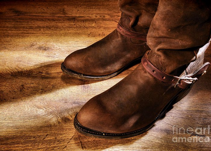 Boots Greeting Card featuring the photograph Cowboy Boots On Saloon Floor by Olivier Le Queinec