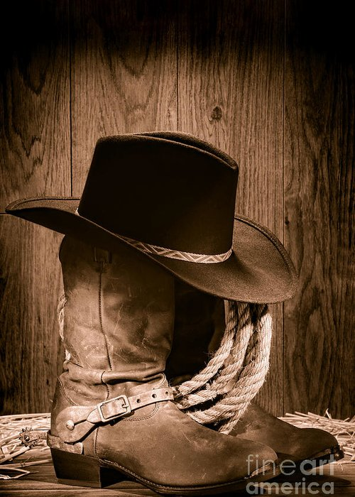 Boots Greeting Card featuring the photograph Cowboy Hat And Boots by Olivier Le Queinec