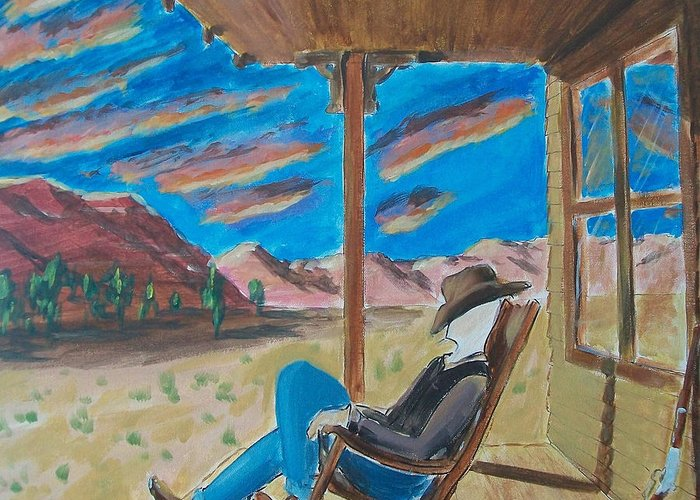 John Lyes Greeting Card featuring the painting Cowboy Sitting In Chair At Sundown by John Lyes