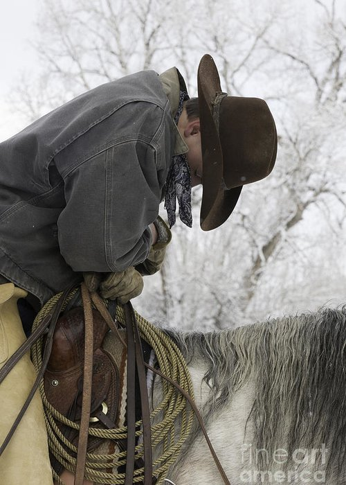 Cowboys Greeting Card featuring the photograph Cowboy Sleeps In The Saddle by Carol Walker