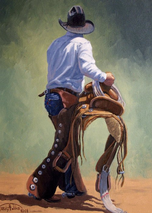 Cowboy Greeting Card featuring the painting Cowboy With Saddle by Randy Follis
