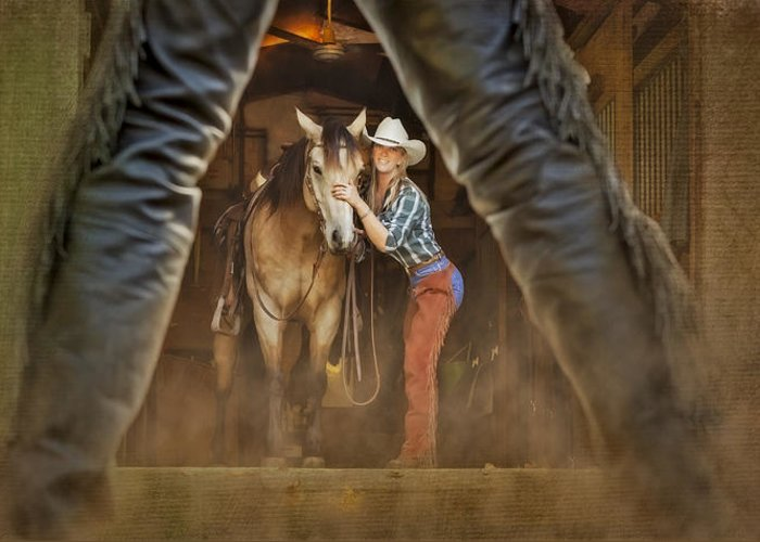 Animals Greeting Card featuring the photograph Cowgirl And Cowboy by Susan Candelario