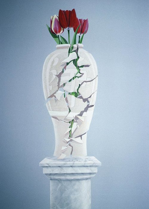 Tulip Greeting Card featuring the painting Cracked Urn by Lincoln Seligman
