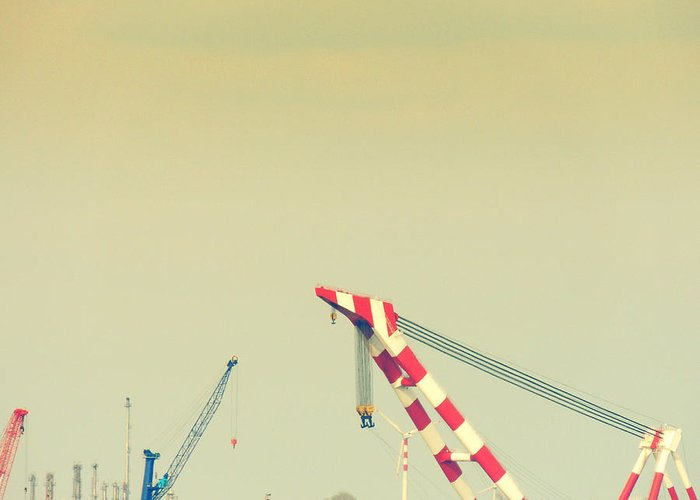 Shipyard Greeting Card featuring the photograph Cranes by Gabriela Insuratelu
