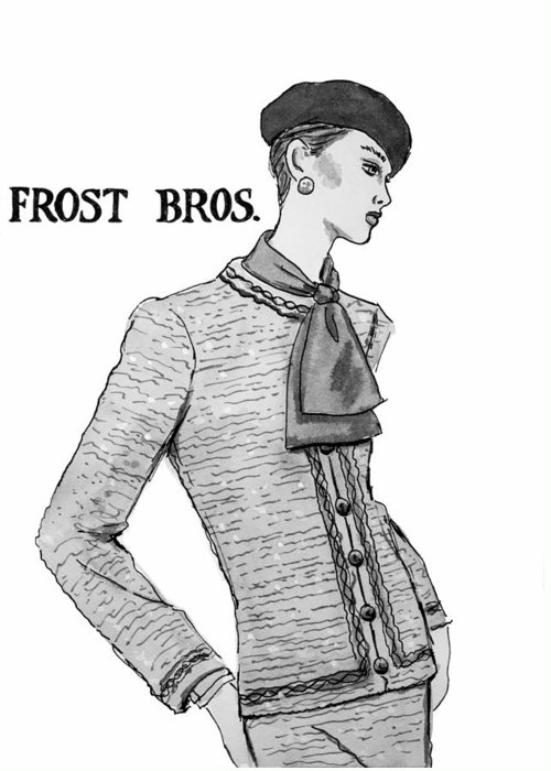 Fashion Illustration Greeting Card featuring the drawing Cravat by Sarah Parks